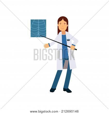 Young woman doctor in hospital standing and pointing on patient s X-ray picture of chest. Medical treatment and healthcare concept. Professional at work. Isolated vector illustration in flat style.