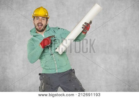 Construction Plan And Worker's Joy