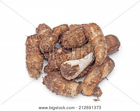 Group of Taro Root Isolated on White Background