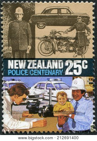 NEW ZEALAND - CIRCA 1986: Postage stamps printed in New Zealand is dedicated to the centennial of Police Force Act shows 1920 motorcycle 1940s car modern patrol cars and graphologist circa 1986