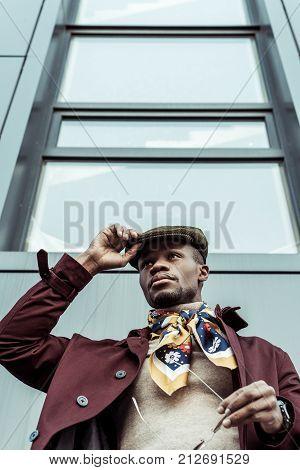 Handsome African American Man In Newsie Cap