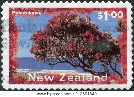 NEW ZEALAND - CIRCA 1996: Postage stamps printed in New Zealand shows a Christmas tree - Pohutukawa tree (Metrosideros excelsa) circa 1996