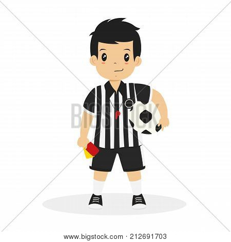 Happy boy wearing soccer referee jersey with a whistle hanging around the neck. his right hand holding red and yellow card, and his left hand holding a soccer ball cartoon vector