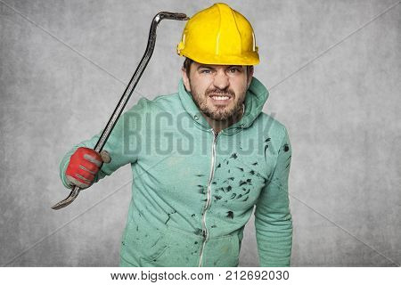 The Worker Tests The Strength Of The Helmet