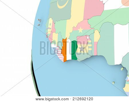 Flag Of Ivory Coast On Political Globe