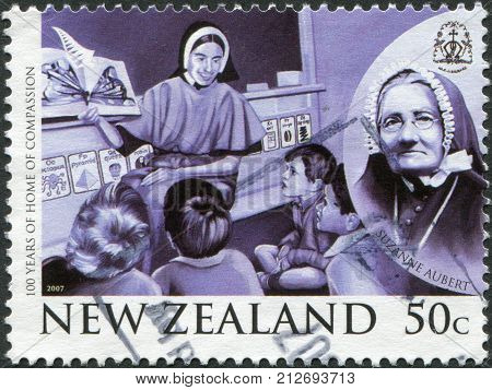 NEW ZEALAND - CIRCA 2007: Postage stamps printed in New Zealand is dedicated to the 100th anniversary of the Home of Compassion depicted Suzanne Aubert circa 2007