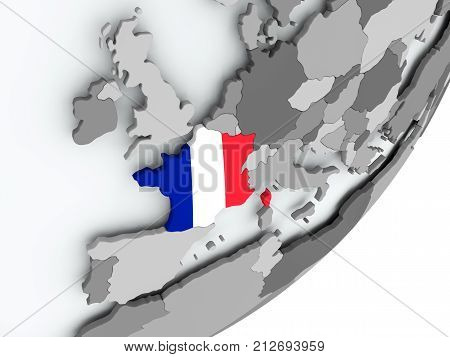 Flag Of France On Map