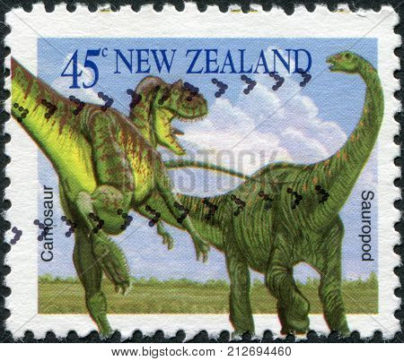 NEW ZEALAND - CIRCA 1993: Postage stamps printed in New Zealand shows dinosaurs - Carnosaur sauropod circa 1993