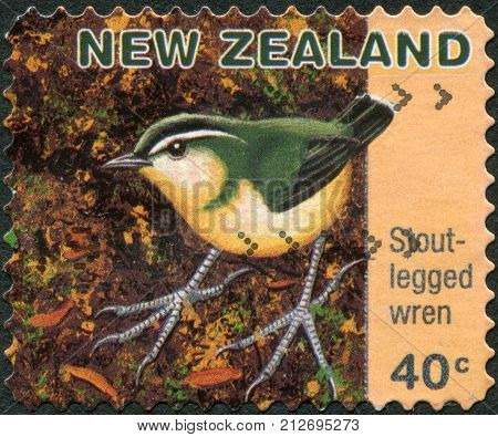 NEW ZEALAND - CIRCA 1996: Postage stamps printed in New Zealand shows a bird Stout-legged Wren or Yaldwin's Wren (Pachyplichas yaldwyni) circa 1996