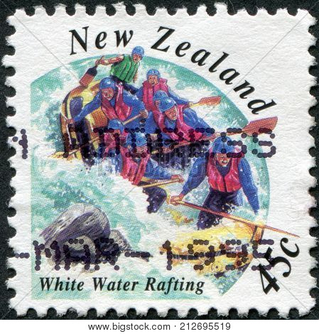 NEW ZEALAND - CIRCA 1994: Postage stamps printed in New Zealand shows the White Water Rafting circa 1994