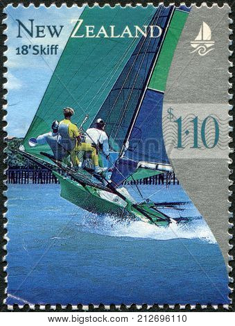 NEW ZEALAND - CIRCA 1999: Postage stamps printed in New Zealand shows yacht 18-foot skiff circa 1999