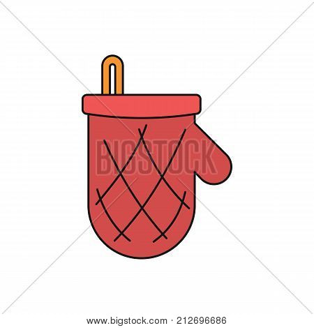 Potholder mitten cartoon icon. Vector illustration of Potholder mitten isolated on white background