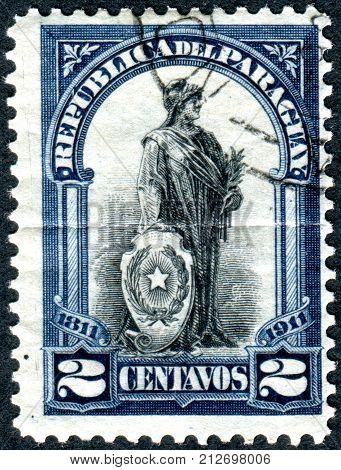 PARAGUAY - CIRCA 1911: Postage stamp printed in Paraguay dedicated to the 100th anniversary of Independence shows