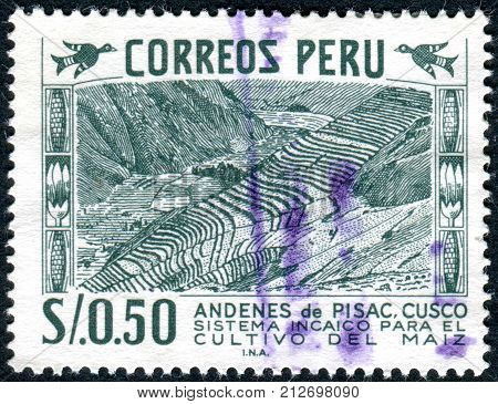 PERU - CIRCA 1953: Postage stamp printed in Peru shows Inca Monument Contour Farming Cuzco circa 1953