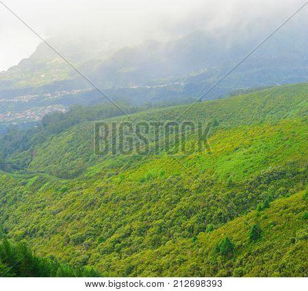 Mountain landscape. View of mountains from pico Das Pedras, Madeira Island, Portugal, Europe.