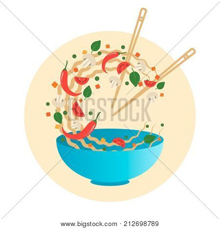 Stir fry vector illustration. Flipping Asian noodles with vegetables in a blue bowl. Cartoon flat style