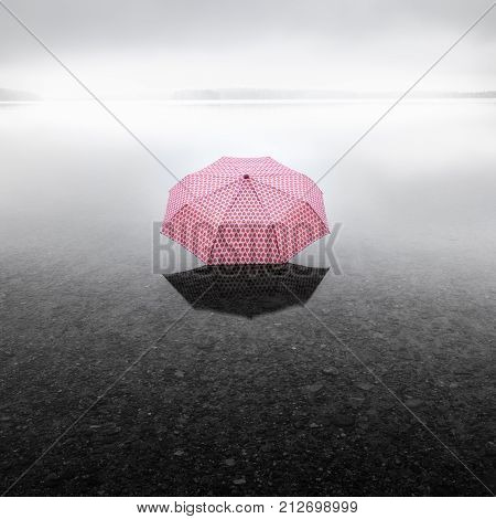 Pinky umbrella middle of the lake. This picture describes global warming.