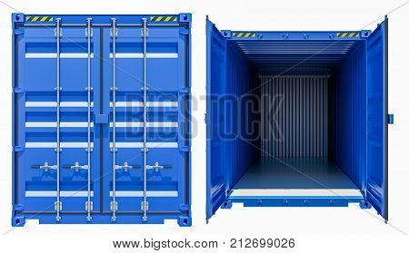 Blue cargo freight container, opened and closed, isolated on white background. 3d illustration