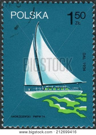 POLAND - CIRCA 1974: Postage stamp printed in Poland shows a sailing yacht Dal participated in the circumnavigation in 1934 circa 1974