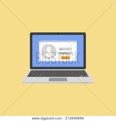 Laptop with authorization on the screen. Login and password of the user. Login to the system or account. Vector illustration