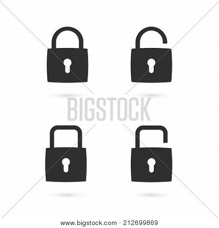 Set of flat padlock icons. Open and closed state of the padlock. Vector illustration. Design elements for web design