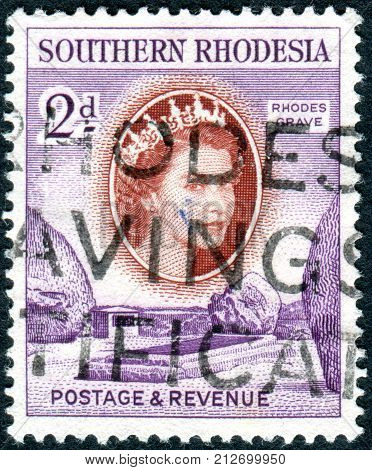 SOUTHERN RHODESIA - CIRCA 1953: A stamp printed in Southern Rhodesia shows a grave of Cecil Rhodes circa 1953