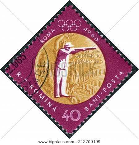 ROMANIA - CIRCA 1961: Postage stamp printed in Romania dedicated to the gold medalists Summer Olympics in Rome 1960 shows Sharpshooting circa 1961