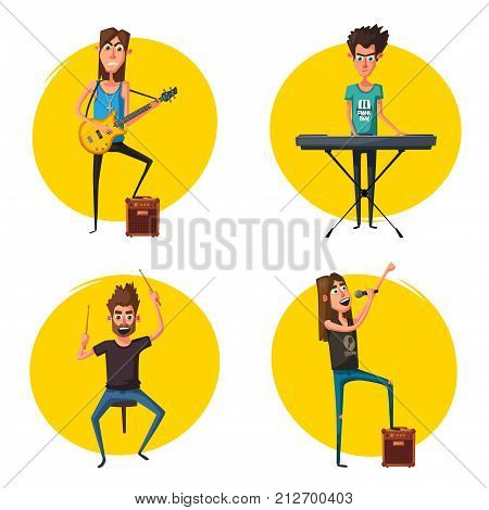 Rock music set. Old school party. Cartoon vector illustration. Vintage style. Live festival. Collection of characters. Musicians on stage