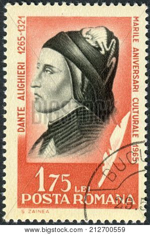 ROMANIA - CIRCA 1965: Postage stamp printed in Romania shows a portrait of Dante Alighieri circa 1965