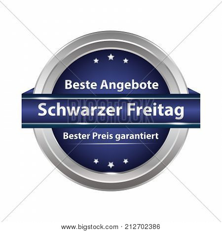 Shiny button designed for the German retail market. Text translation: Black Friday. best offers. Best price guaranteed.
