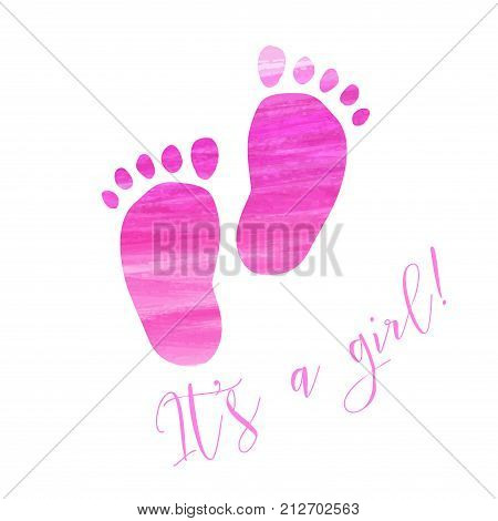 Baby gender reveal concept illustration. Watercolor brushed footprints. It's a girl. Pink colored.