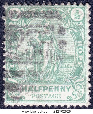 CAPE OF GOOD HOPE - CIRCA 1898: A stamp printed in Cape of Good Hope Colony shows Allegory of Hope circa 1898