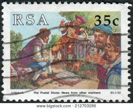 SOUTH AFRICA - CIRCA 1992: Postage stamp printed in South Africa devoted to Stamp day shows Post stone - Letters for Europe or India circa 1992