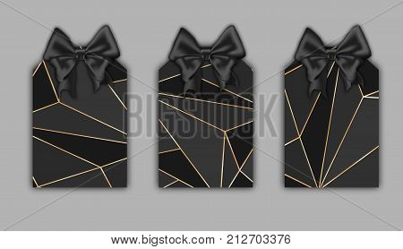 Realistic labels mockup, gold stroke black triangle shapes, low poly trendy texture. Geometric triangles label set, vector illustration. Beautiful ribbon silk black bow on the top. Label tags vector, Black Friday tags template.