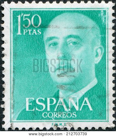 SPAIN-CIRCA 1956: A stamp printed in the Spain shows Gen. Francisco Franco circa 1956