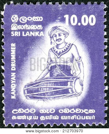 Sri Lanka - Circa 2001: A Postage Stamp Printed In Sri Lanka, Shows A Kandyan Drummer, Circa 2001