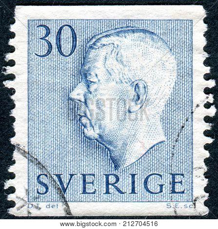 SWEDEN - CIRCA 1961: Postage stamp printed in Sweden shows Sweden's King Gustaf VI Adolf circa 1961