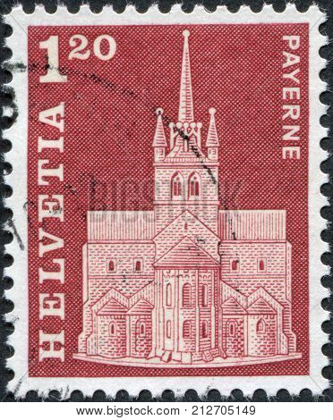 SWITZERLAND - CIRCA 1968: A stamp printed in Switzerland shows Payerne Priory circa 1968