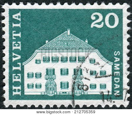 Switzerland - Circa 1968: Postage Stamp Printed In Switzerland, Shows Planta House, Samedan, Circa 1