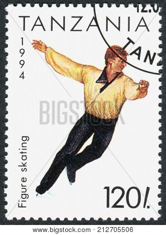 TANZANIA - CIRCA 1994: A stamp printed in Tanzania dedicated to Winter Olympics Game in Lillehammer shows Figure Skating circa 1994