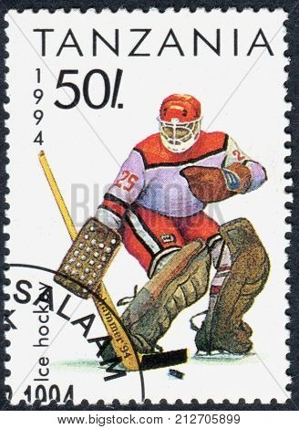 TANZANIA - CIRCA 1994: A stamp printed in Tanzania dedicated to Winter Olympics Game in Lillehammer shows Ice Hochey circa 1994