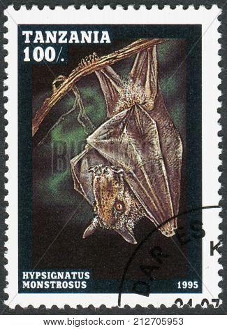 TANZANIA - CIRCA 1995: A stamp printed in Tanzania shows the hammer-headed bat (Hypsignathus monstrosus) circa 1995