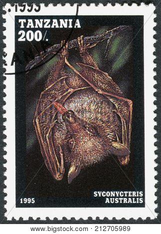 TANZANIA - CIRCA 1995: A stamp printed in Tanzania shows the common blossom bat (Syconycteris australis) circa 1995