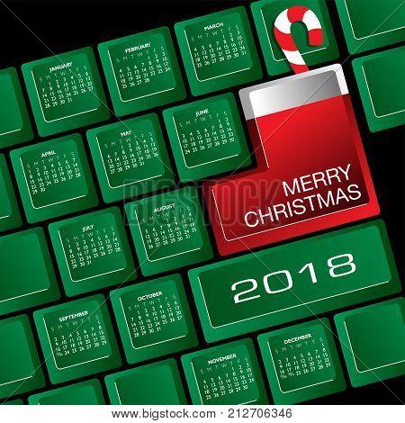 2018 Creative Keyboard Christmas Calendar for Print or Web