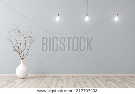 Room With Vase And Lamps Interior Background 3D Rendering