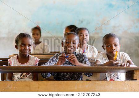 Malagasy School Children In Classroom, Madagascar