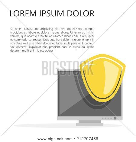 Safety badge protection icon of golden light on the monitor background. Defense safeguard sign icon. Vector illustration.