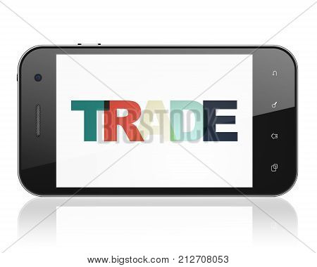 Finance concept: Smartphone with Painted multicolor text Trade on display, 3D rendering