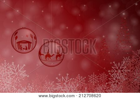 Christmas time. Christmas balls with Nativity scene and three kings in Christmas landscape.