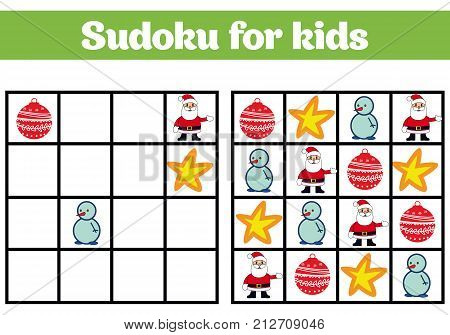Sudoku Game For Children With Pictures. Logic Game For Preschool Children. Rebus For Children. Educa